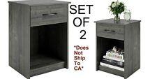 Nightstand Set of 2 Gray End Table Bedside Bedroom Furniture Shelf Drawer