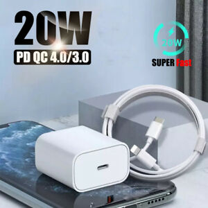 For iPhone 12/12 Pro Max/iPad Fast Charger 20W USB-C Adapter PD Charger + Cable
