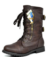 DREAM PAIRS Women's New Winter Mid Calf Military Lace up Combat Booties Boots