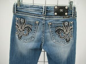 M9285 VTG Women's Miss Me Fleur De Lis Embellished Capri Jeans Size 28