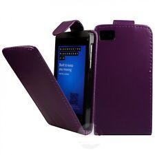 Púrpura con cierre magnético De Cuero Funda de teléfono con ranura de tarjeta para Blackberry Z10 Reino Unido Publica Gratis