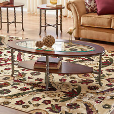 Coffee Table Set 3 PC Cherry Wood Glass Top 2 End Tables Living Room Furniture
