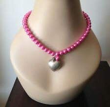 EYE-CATCHING PRELOVED PEARLISED PINK GLASS NECKLACE WITH PUFFY HEART PENDANT