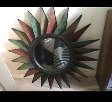 New, Sun Shaped, Metal Framed, Large Mirror For Garden/ Indoor
