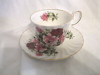 REGENCY English Bone China Red Pink Roses Cup & Saucer Vintage Cottage Chic