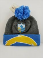 LOS ANGELES CHARGERS KNIT BEANIE HAT SKI CAP CUFFED W/POM MITCHELL AND NESS new