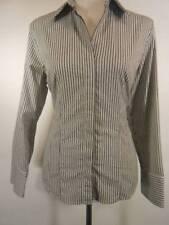 Beautiful Women's Petite Size 12 Talbots Black & White Striped LS Button Blouse