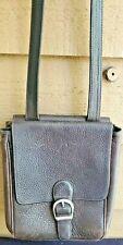 Eddie Bauer Brown Pebbled Leather Organizer Cross-body Messenger Unisex Bag
