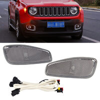2pcs Side Marker Lamp Covers w/ LED Light Cable Fit for 2015-2016 Jeep Renegade