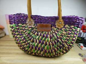 Gorgeous Seasalt Woven straw basket bag with leather handles, Purple/Green.