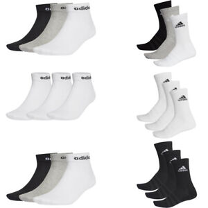 Adidas Mens Womens 3 Pairs Crew Ankle No Show Socks Pack Black White Grey Size