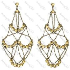 "HUGE 5""long CHAIN CHANDELIER EARRINGS champagne crystal STATEMENT vintage brass"