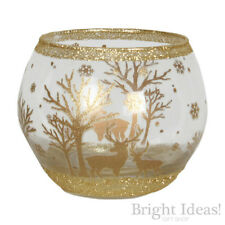 Village Candle - REINDEER GLOBE TEA LIGHT CANDLE HOLDER - For Use With Tealights