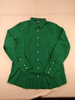 Lands' End - Long Sleeve No Iron Striped Dress Shirt - Women - Tall - 14 - Green