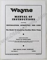 Wayne 70 Gas Pump Parts Manual BK-WAYNE70Manual