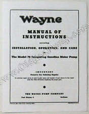 Wayne 70 Gas Pump Parts Manual BK-WAYNE70Manual