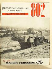 Prospectus Presse MASSEY FERGUSON  802 1961 MF brochure tracteur tractor traktor