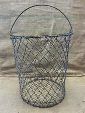 Vintage Metal Wire Waste Basket > Antique Old Shabby Garden Iron Kitchen 8199