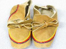NATIVE AMERICAN BEADED HOME TANNED MOOSEHIDE RAINBOW  MOCCASIN  6 INCHES LONG