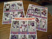 Set Of 3 New York Giants McDonalds Card Sheets 1993