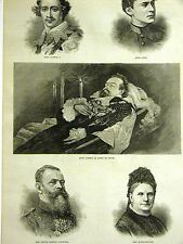 BAVARIAN HOUSE of WITTELSBACH LUITPOLD LUDWIG in COFFIN OTTO 1886 Print Matted