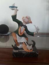 Vtg FONTANINI DEPOSE Italy Clown Waiter Figurine Carrara Marble Base cafe worker