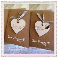 Love Bees *Made To Order Bee Loved Card With Hand Painted Wooden Heart Attached