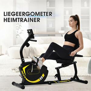 Merax Heimtrainer Liegeergometer mit 8 Widerstandsstufen Verstellbarer Sitz Gelb