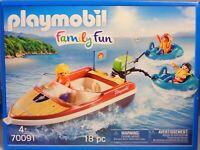 Playmobil 70091 Sport-Boot mit Fun-Reifen Vater 2 Kinder Schwimmwesten  NEU