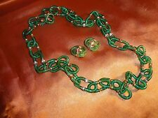 ARCHIMEDE SEGUSO MOUTH BLOWN EMERALD GREEN MURANO GLASS NECKLACE WITH EARRINGS