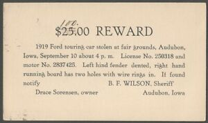Iowa Stolen Ford Touring Car Postal Card to Nebraska Sheriff - Crime Theft 1920s