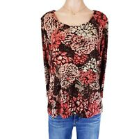 Chicos Size 2 Travelers Top Shirt Tunic Blouse Women Large L Floral Print Summer