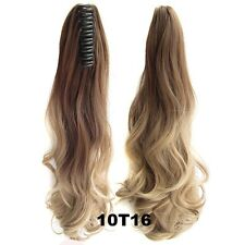 "22"" Claw Pony tail Colorful Ombre Ponytail Hair Extensions Wavy Curly Style 170g"