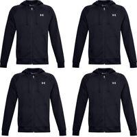 Under Armour Mens Rival Hoodie Sweatshirt Fleece Winter Top Full Zip Hoody Black