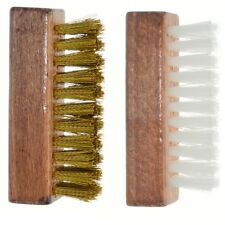 Ralyn Brass and Nylon Suede Brushes. Polished Wood Block. 2-Set.