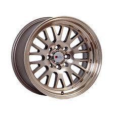 "F1R Wheels F04 Rims 15x8 4x100 4x114.3 +0 Offset 3"" Stepped Lip Machined Bronze"