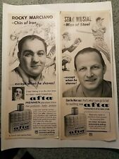 Rocky Marciano Stan Musial Mennen Afta shave Life mag advert boxing baseball