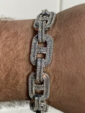 Men's Solid 925 Silver Baguette Gucci Link Bracelet Iced Thick Flooded Out 15mm