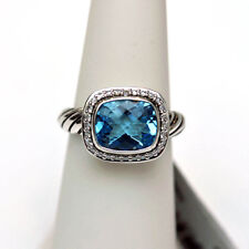DAVID YURMAN New Sterling Silver Noblesse Blue Topaz Diamonds Ring 5.75.