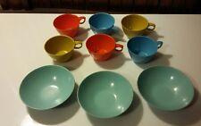 Vintage Hard Plastic Dessert Bowls & Cups/Mugs Kids Picnic 6 cups 3 bowls