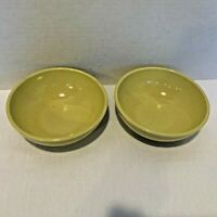 Iroquois Casual China Russel Wright 2 Small Cereal Bowls Yellow? Green? Mustard?