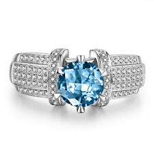 18K White Gold 7mm Round 1.9ct Sky Blue Topaz & Diamonds Halo Generous Fine Ring