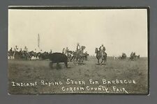 McIntosh SOUTH DAKOTA RP c1910 SIOUX INDIANS Indian ROPING COW for BARBECUE