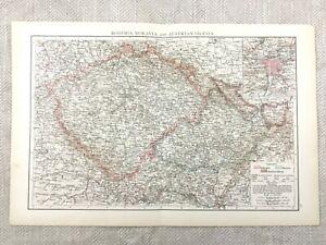 1895 Austria Bohemia Moravia Austrian Silesia Map Antique 19th Century Victorian
