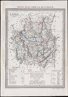 1839 - Carte géographique ancienne de la Loire. Département France. Gravure