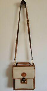 Dooney Bourke Messenger Crossbody Shoulder Bag Locked Purse Leather Ivory Brown