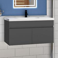 Waschtisch mit Unterschrank Badmöbel Set Keramikbecken Anthrazit 60/80/100/120cm