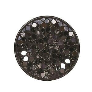 Aromatize Black Mirror Teardrop Design Round Circular Candle Plate Display Tray