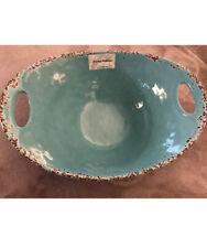 Tommy Bahama Aqua Blue Rustic Crackle MELAMINE Large Serving Bowl With Handles
