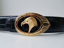 STEFANO RICCI men's black belt with golden tone buckle